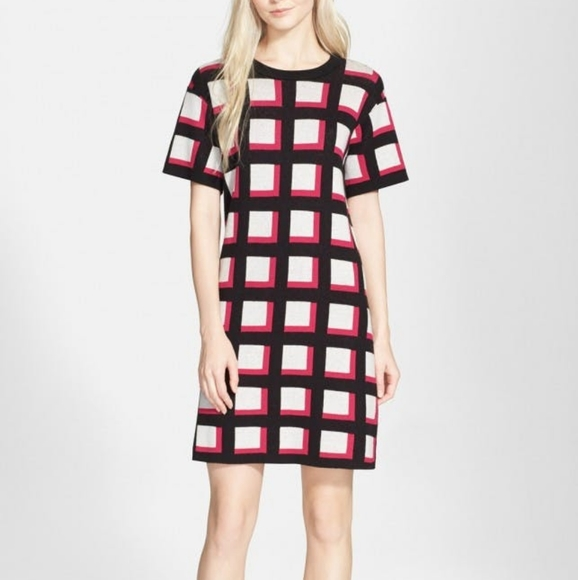 Kate Spade | holiday knit checker 70s dress EUC